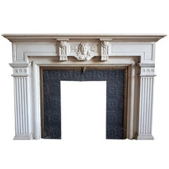 Neo-Classical Fireplace in the Most Softened White Carrara-Marble, Statuary