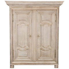 Neoclassical French Bleached Oak Armoire