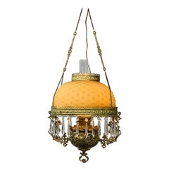 Neoclassical French Brass and Opaline Round Shade Pendant or Chandelier