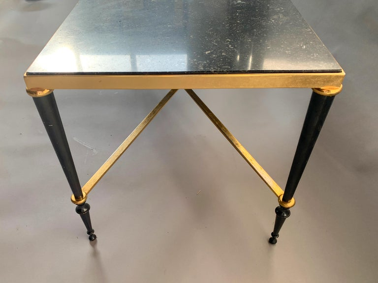 Mid-20th Century Neoclassical French Brass-Plated Coffee Table with Marble Top For Sale