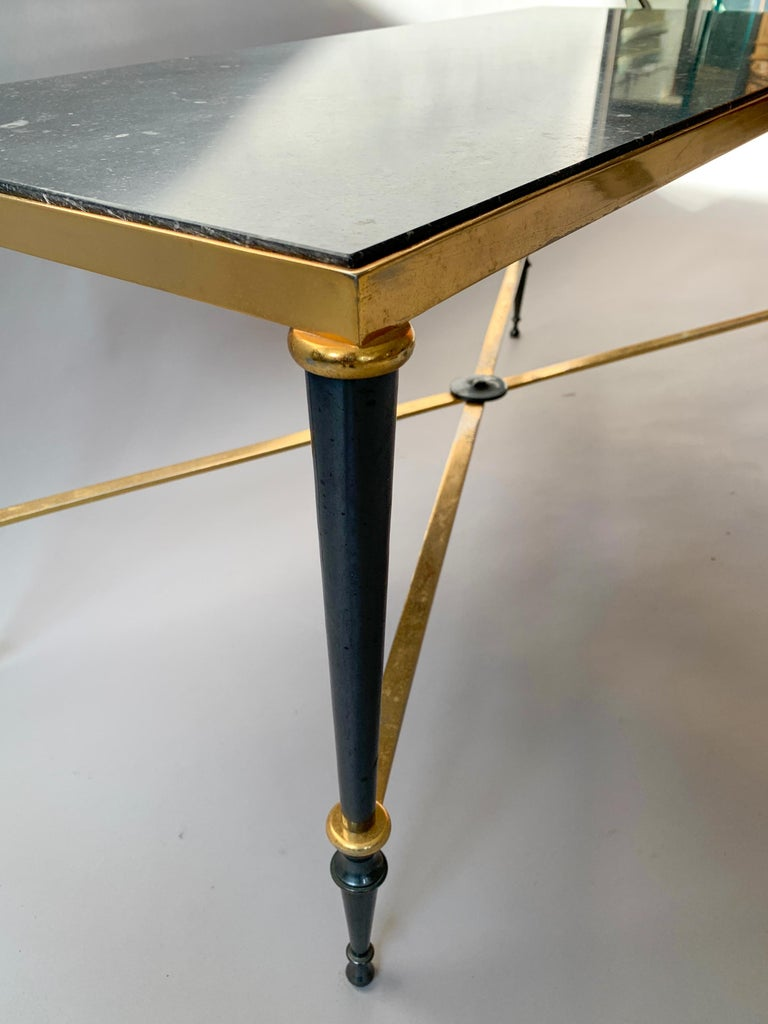 Neoclassical French Brass-Plated Coffee Table with Marble Top For Sale 1