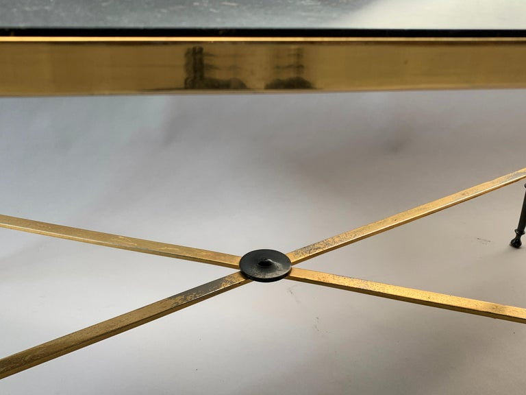 Neoclassical French Brass-Plated Coffee Table with Marble Top For Sale 2