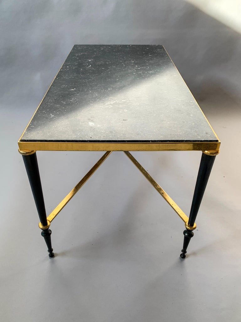 Neoclassical French Brass-Plated Coffee Table with Marble Top For Sale 3