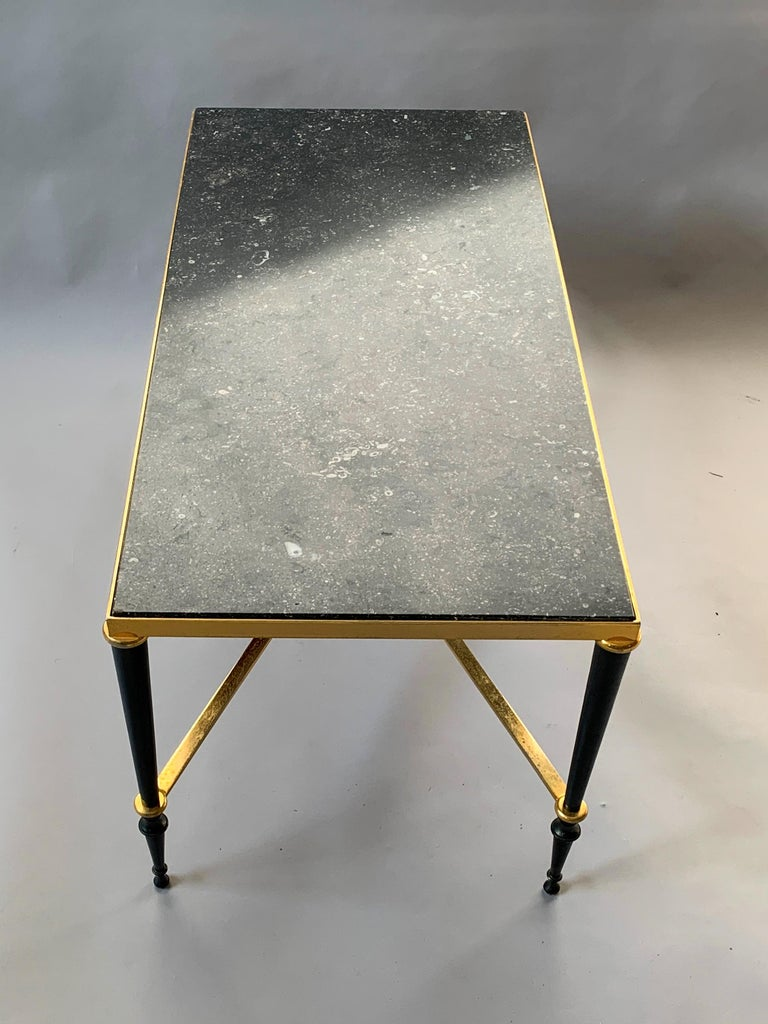 Neoclassical French Brass-Plated Coffee Table with Marble Top For Sale 4