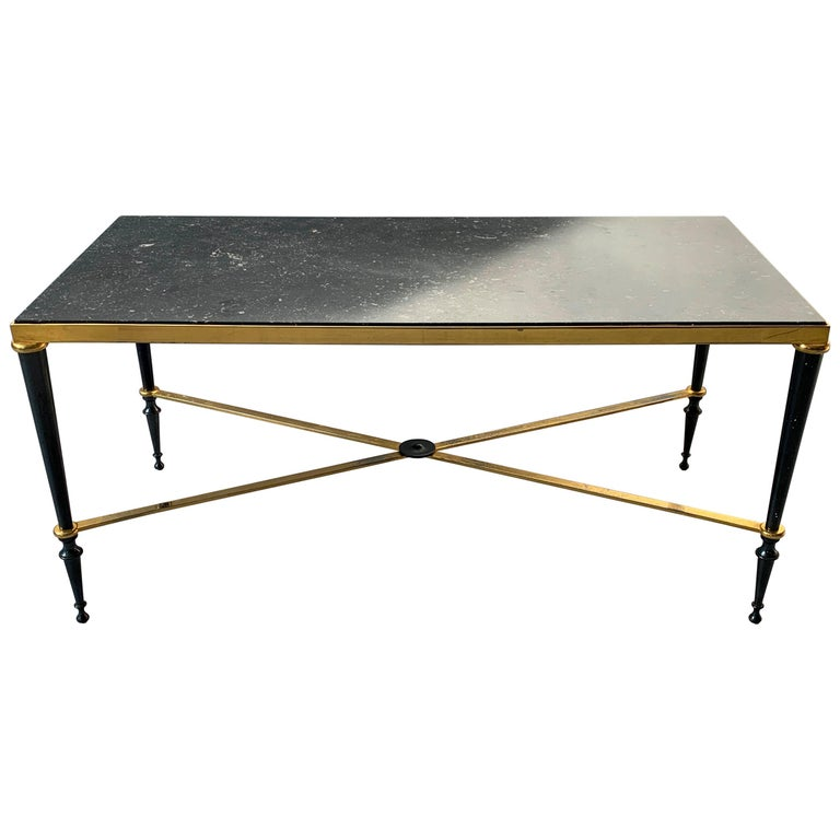 Neoclassical French Brass-Plated Coffee Table with Marble Top For Sale