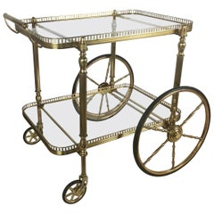 Neoclassical French Brass Trolley or Bar Cart, circa 1940