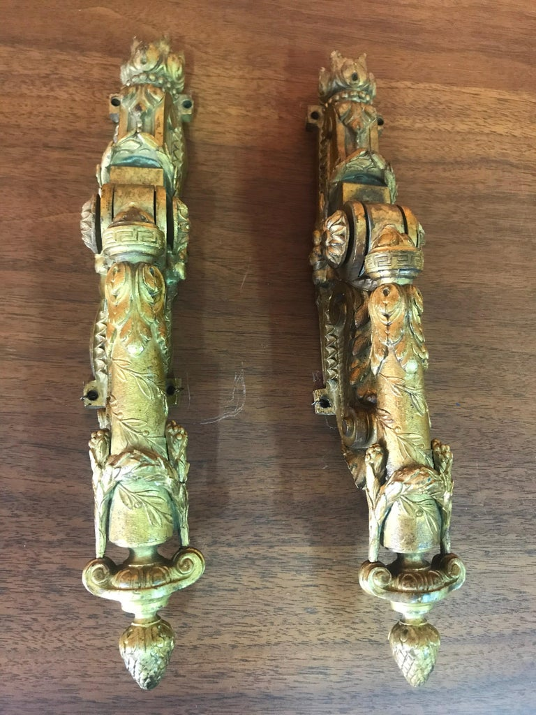 Gilt Neoclassical French Door Knockers in Gilded Brass, 1940s For Sale
