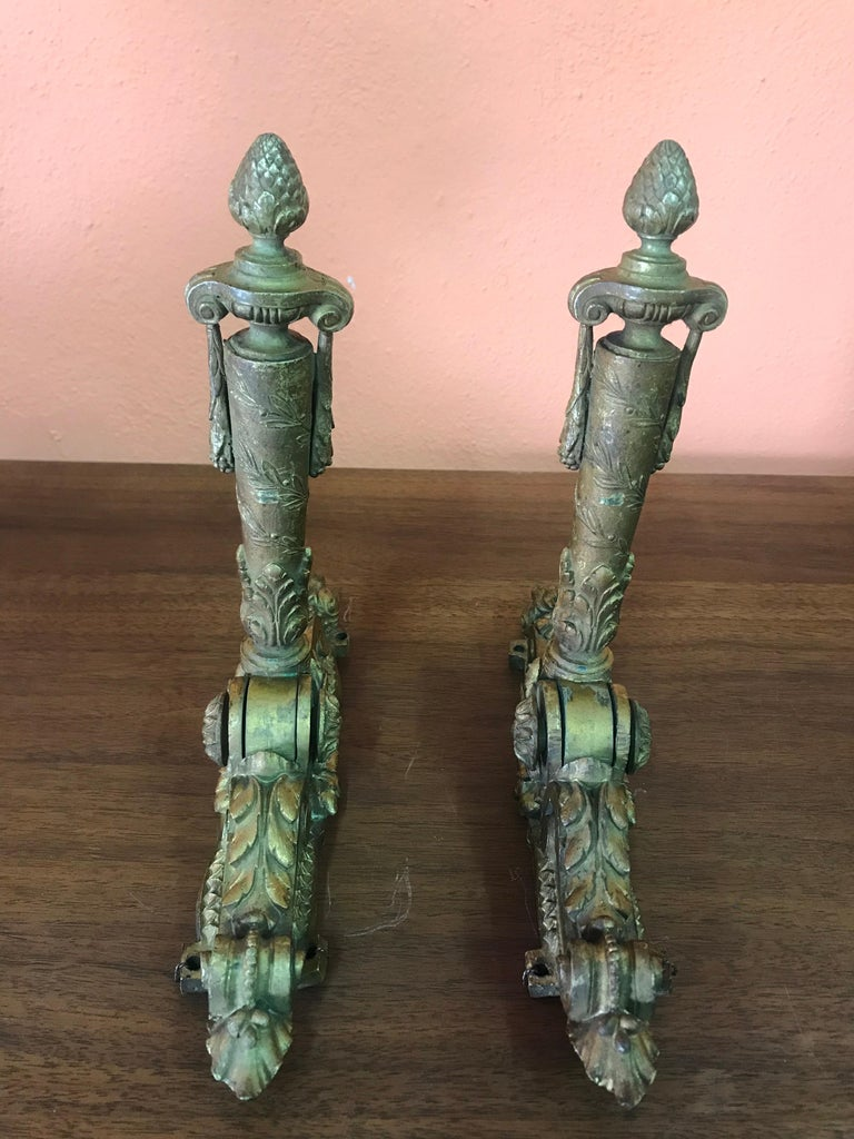 Neoclassical French Door Knockers in Gilded Brass, 1940s In Good Condition For Sale In San Diego, CA