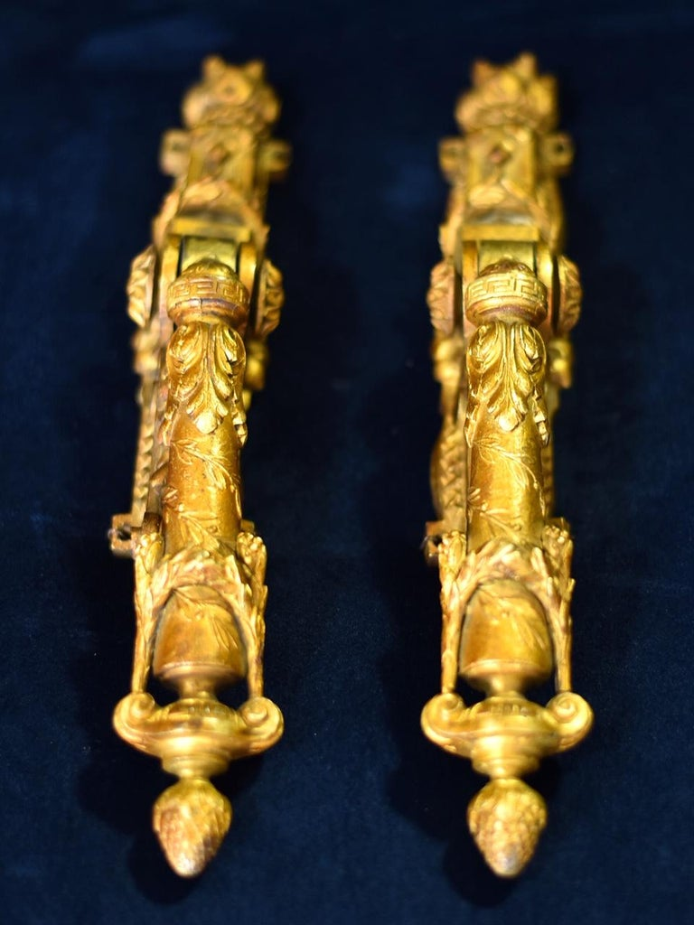 20th Century Neoclassical French Door Knockers in Gilded Brass, 1940s For Sale