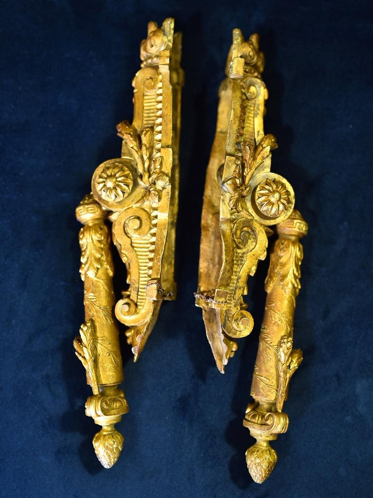 Neoclassical French Door Knockers in Gilded Brass, 1940s For Sale 3