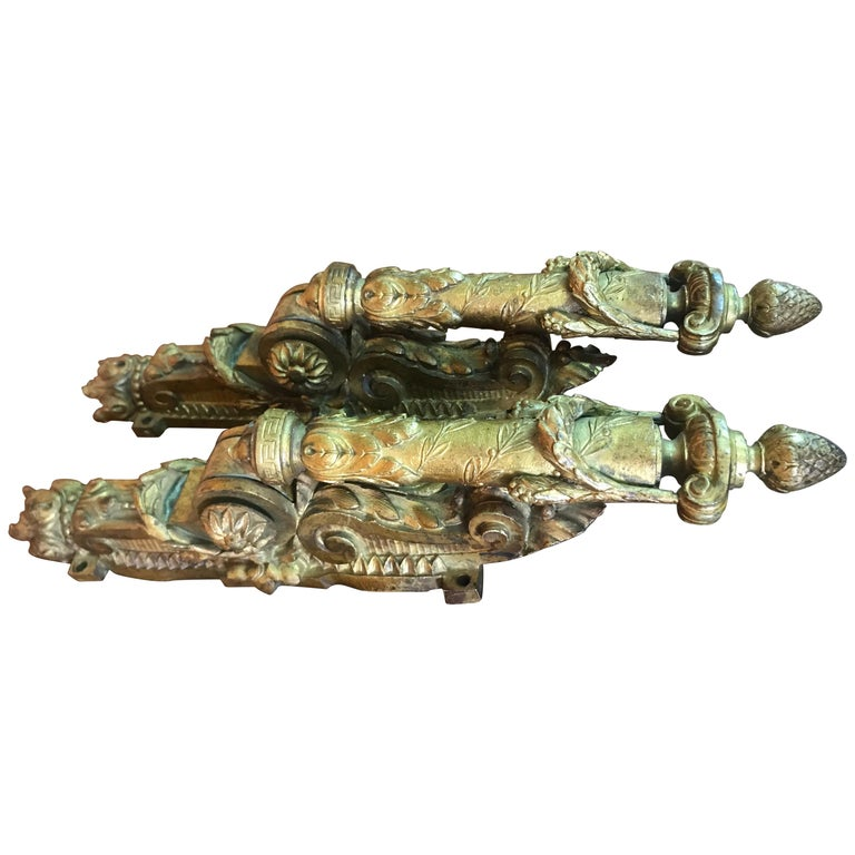 Neoclassical French Door Knockers in Gilded Brass, 1940s For Sale