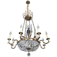 Neoclassical French Dore Bronze and Crystal Eight-Arm Chandelier