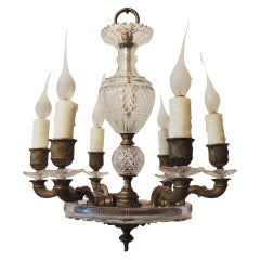Neoclassical French Dore Bronze & Cut Crystal Six-Arm Empire Chandelier Fixture