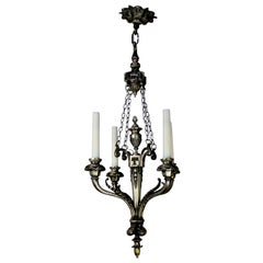 Neoclassical French Four-Branch Silver Chandelier