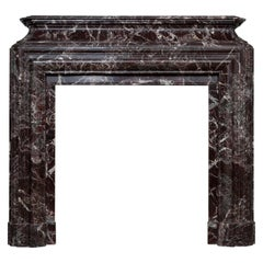 Neoclassical French Marble Rouge Antique Fireplace