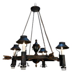 Neoclassical French Tole Argand Style Arrow Chandelier