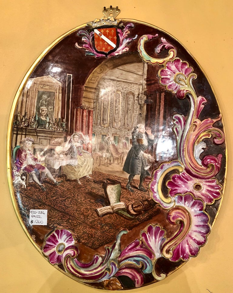 Neoclassical Genre Scene Painted 3 Dimensional Porcelain Signed Plaques, a Pair In Good Condition For Sale In Stamford, CT