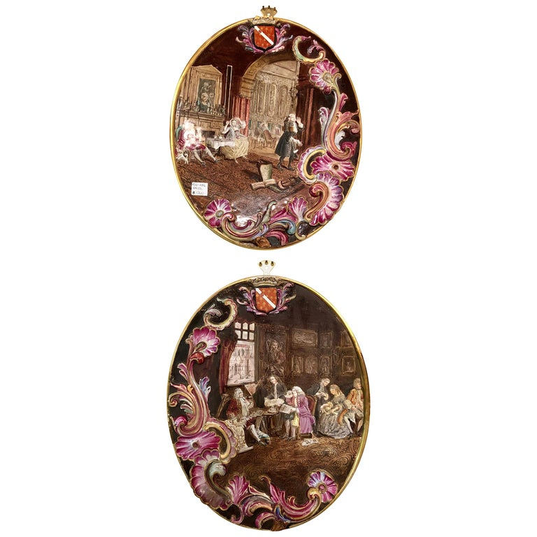 Neoclassical Genre Scene Painted 3 Dimensional Porcelain Signed Plaques, a Pair For Sale