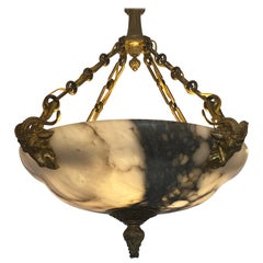 Neoclassical Gilt Bronze Alabaster Ram Chandelier