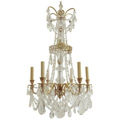 Neoclassical Gilt Bronze and Crystal Chandelier by E. F. Caldwell