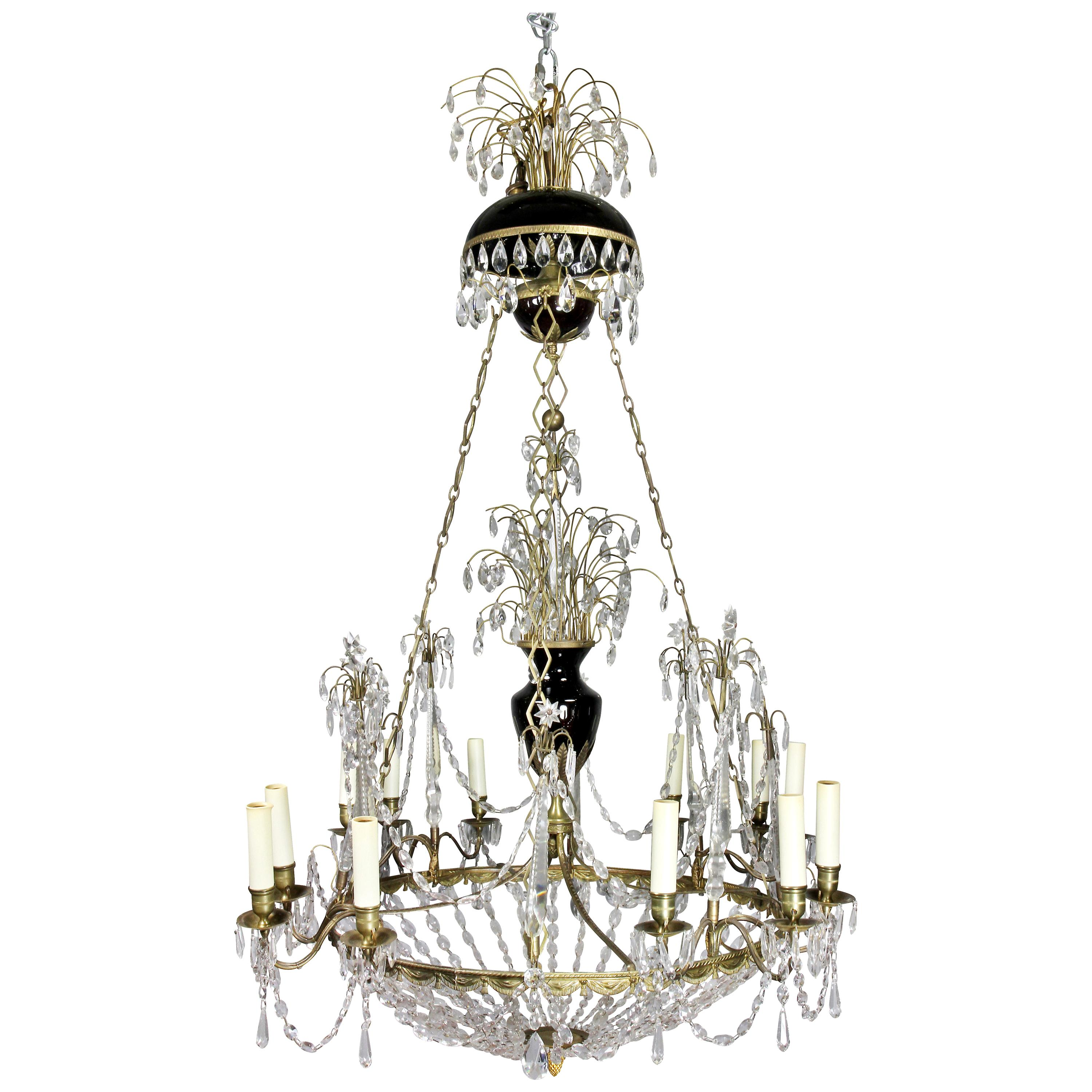 Neoclassical Gilt Bronze and Cut Glass Chandelier