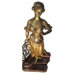 Neoclassical Gilt Bronze on Marble Three-Tier Pedestal, Eduard Drouot, 1859-1945