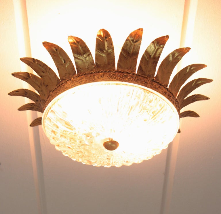 Neoclassical Gilt Iron and Glass Crown Flush Mount Ceiling Light, Spain, 1940s For Sale 4