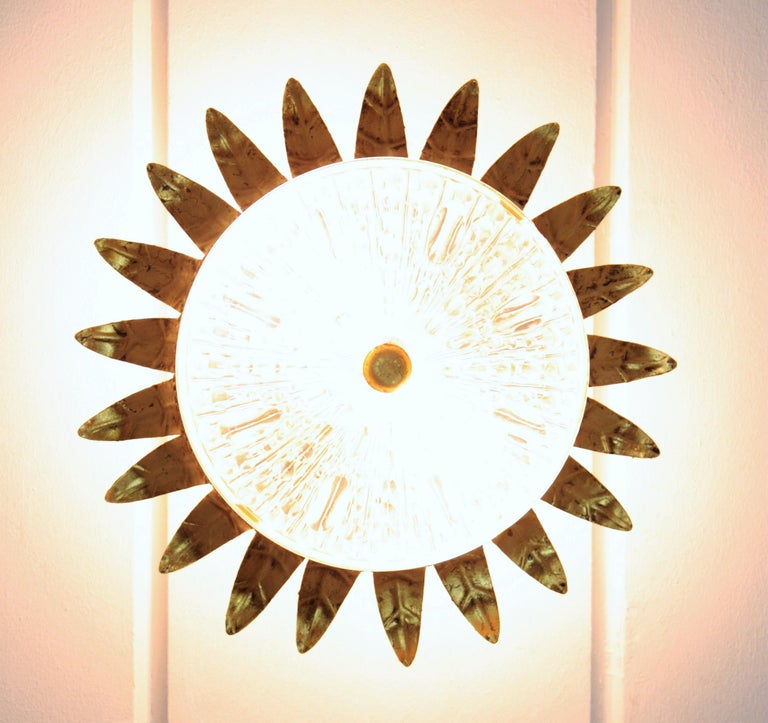 Neoclassical Gilt Iron and Glass Crown Flush Mount Ceiling Light, Spain, 1940s For Sale 5