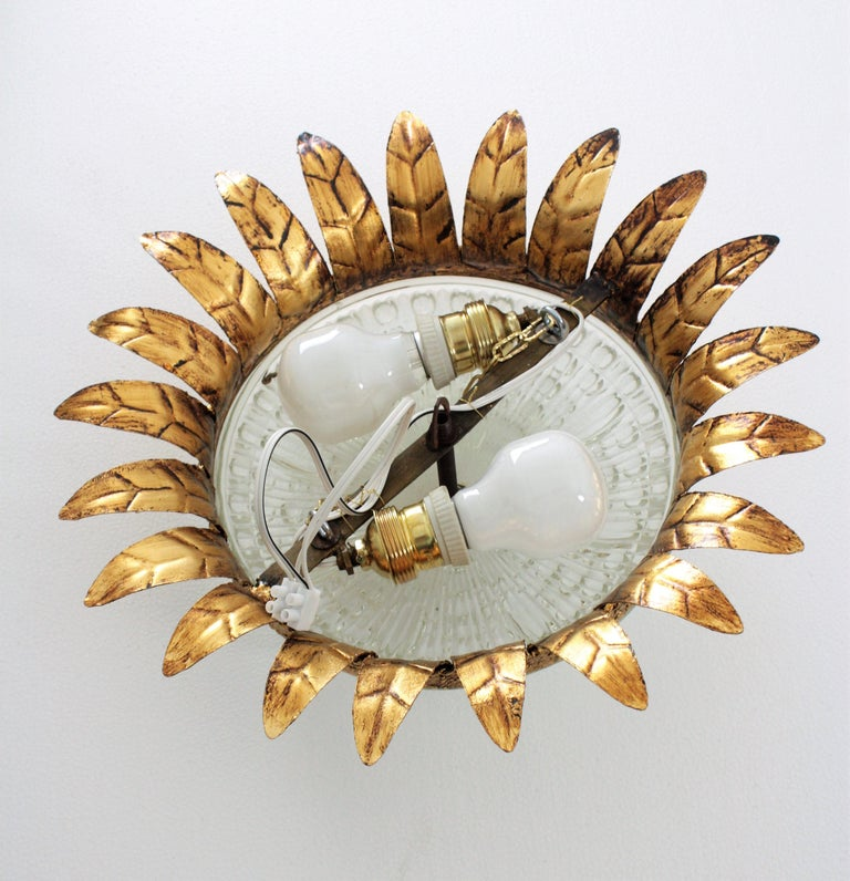 Neoclassical Gilt Iron and Glass Crown Flush Mount Ceiling Light, Spain, 1940s For Sale 6