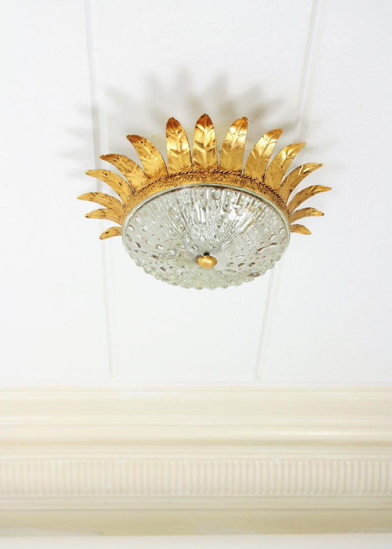 Spanish Neoclassical Gilt Iron and Glass Crown Flush Mount Ceiling Light, Spain, 1940s For Sale