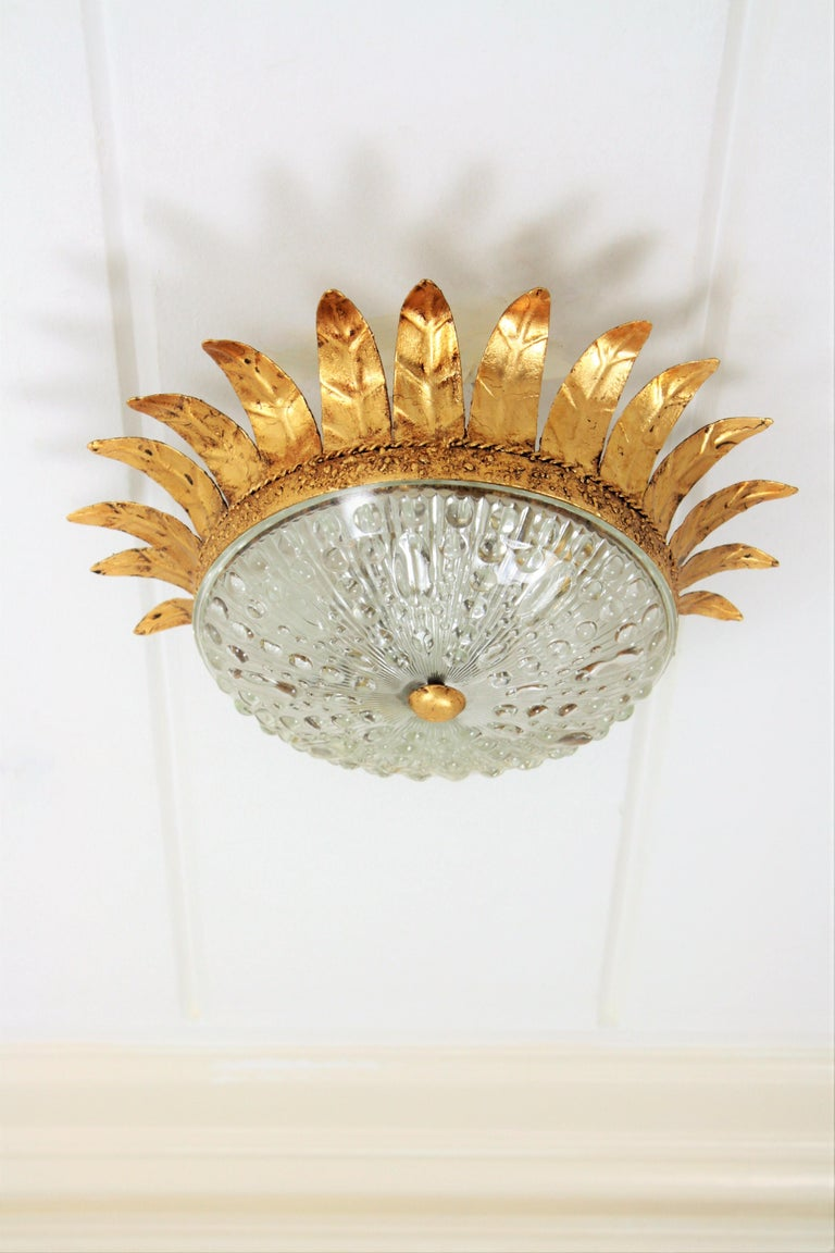 Neoclassical Gilt Iron and Glass Crown Flush Mount Ceiling Light, Spain, 1940s In Excellent Condition For Sale In Barcelona, ES