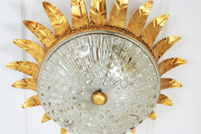 20th Century Neoclassical Gilt Iron and Glass Crown Flush Mount Ceiling Light, Spain, 1940s For Sale