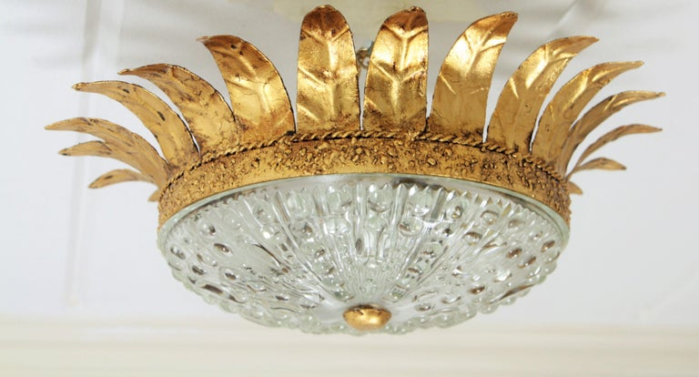 Gold Leaf Neoclassical Gilt Iron and Glass Crown Flush Mount Ceiling Light, Spain, 1940s For Sale