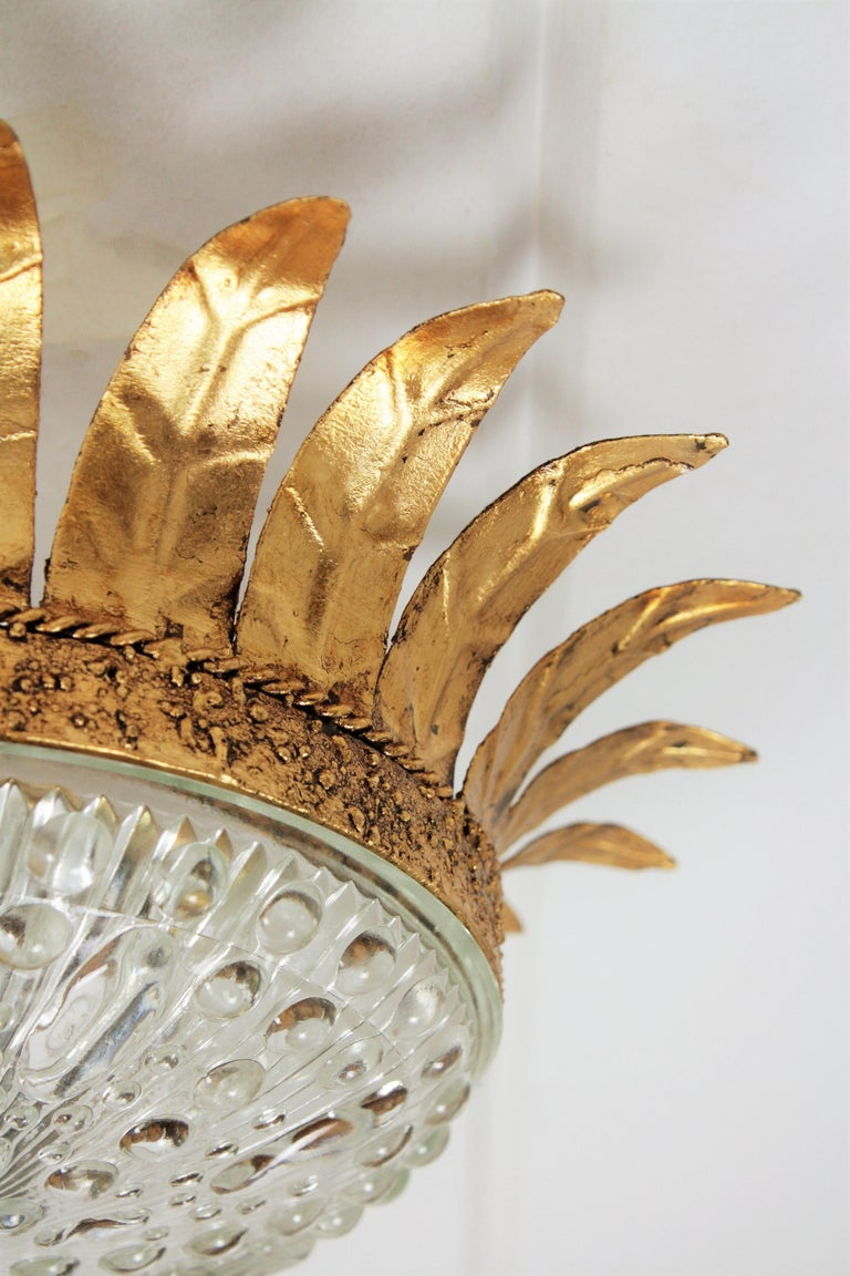 Neoclassical Gilt Iron and Glass Crown Flush Mount Ceiling Light, Spain, 1940s For Sale 1