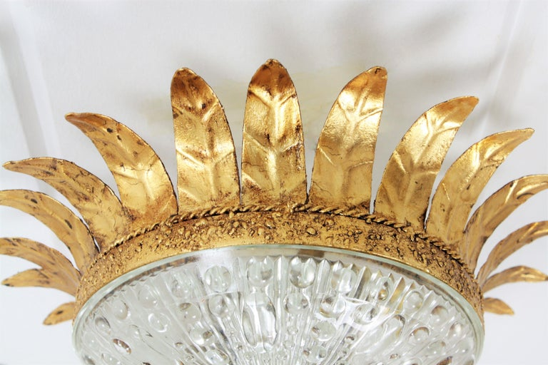 Neoclassical Gilt Iron and Glass Crown Flush Mount Ceiling Light, Spain, 1940s For Sale 3