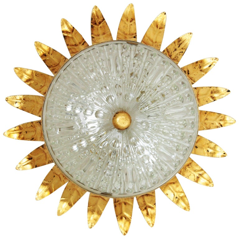 Neoclassical Gilt Iron and Glass Crown Flush Mount Ceiling Light, Spain, 1940s For Sale