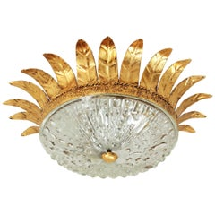 Neoclassical Gilt Iron and Glass Crown Sunburst Flush Mount, Spain, 1940s