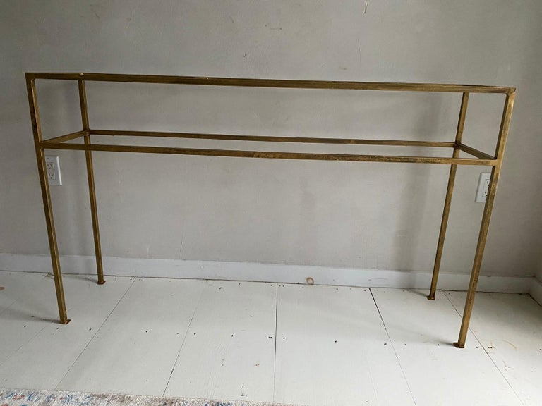 Neoclassical Gilt Metal Base Console Table For Sale 3