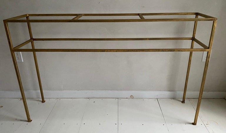 Neoclassical Gilt Metal Base Console Table For Sale 4