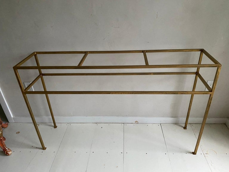 Hand-Crafted Neoclassical Gilt Metal Base Console Table For Sale