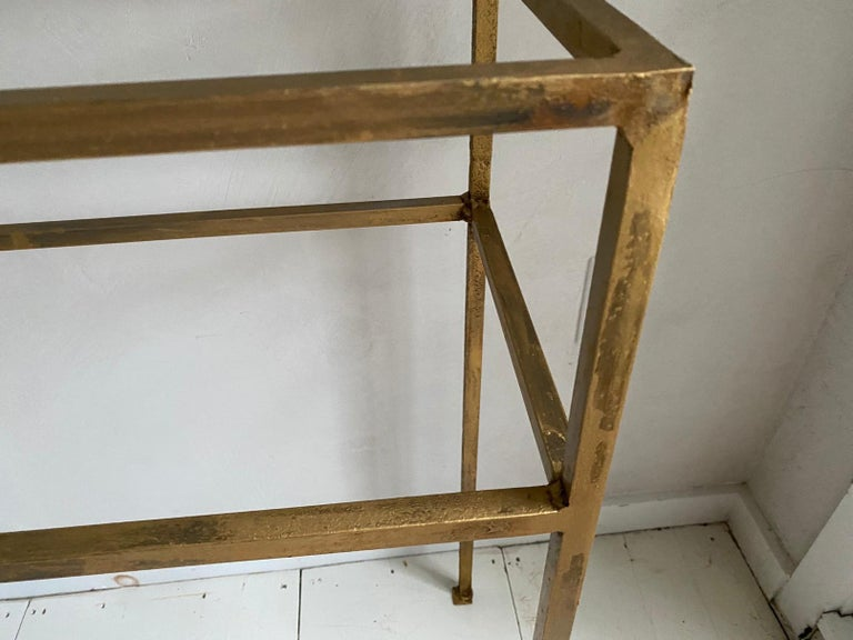 Iron Neoclassical Gilt Metal Base Console Table For Sale