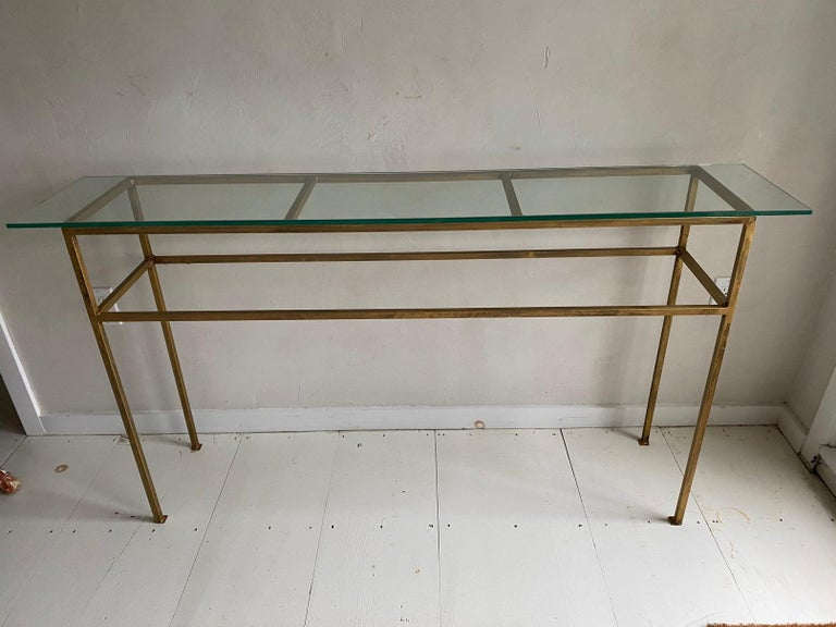 Neoclassical Gilt Metal Base Console Table For Sale 1