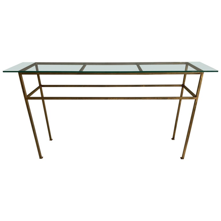Neoclassical Gilt Metal Base Console Table For Sale