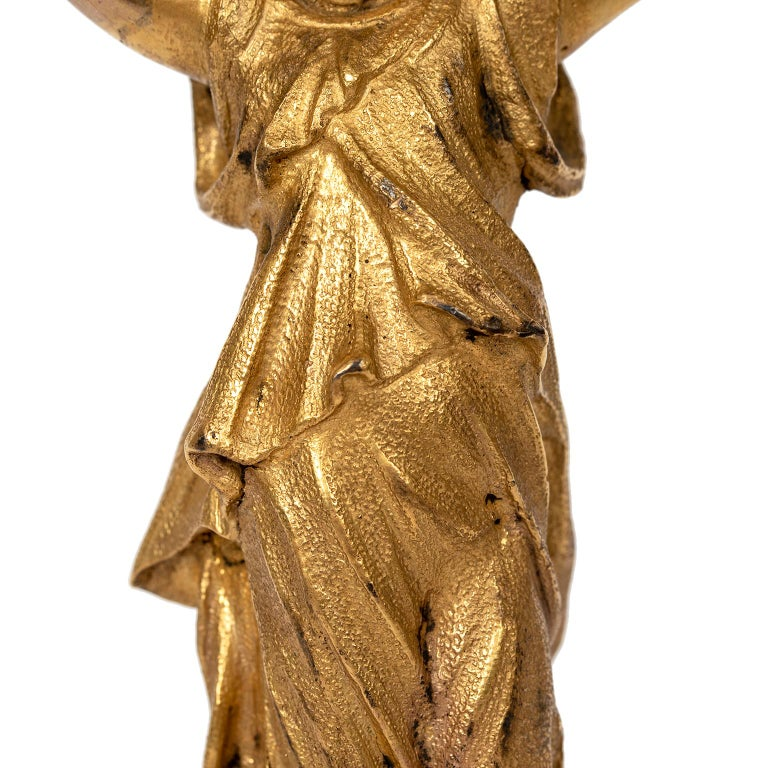 Mid-20th Century Neoclassical Gilt Metal Figure with Marble For Sale