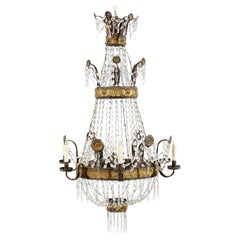 Neoclassical Gilt Metal Greek Key Design and Crystal Basket 6-Light Chandelier