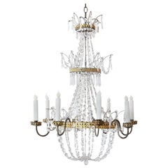 Neoclassical Gilt-Tole and Crystal Chandelier