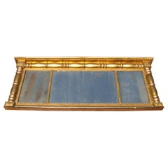 Neoclassical Gold Leaf Gilt Mirror Three Sections