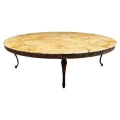 Neoclassical Golden Marbled Onyx Round Coffee Table Sculptural Flared Legs 1950s