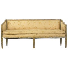 Neoclassical Gray Polychrome Painted Settee Sofa Canape, Early 19th Century