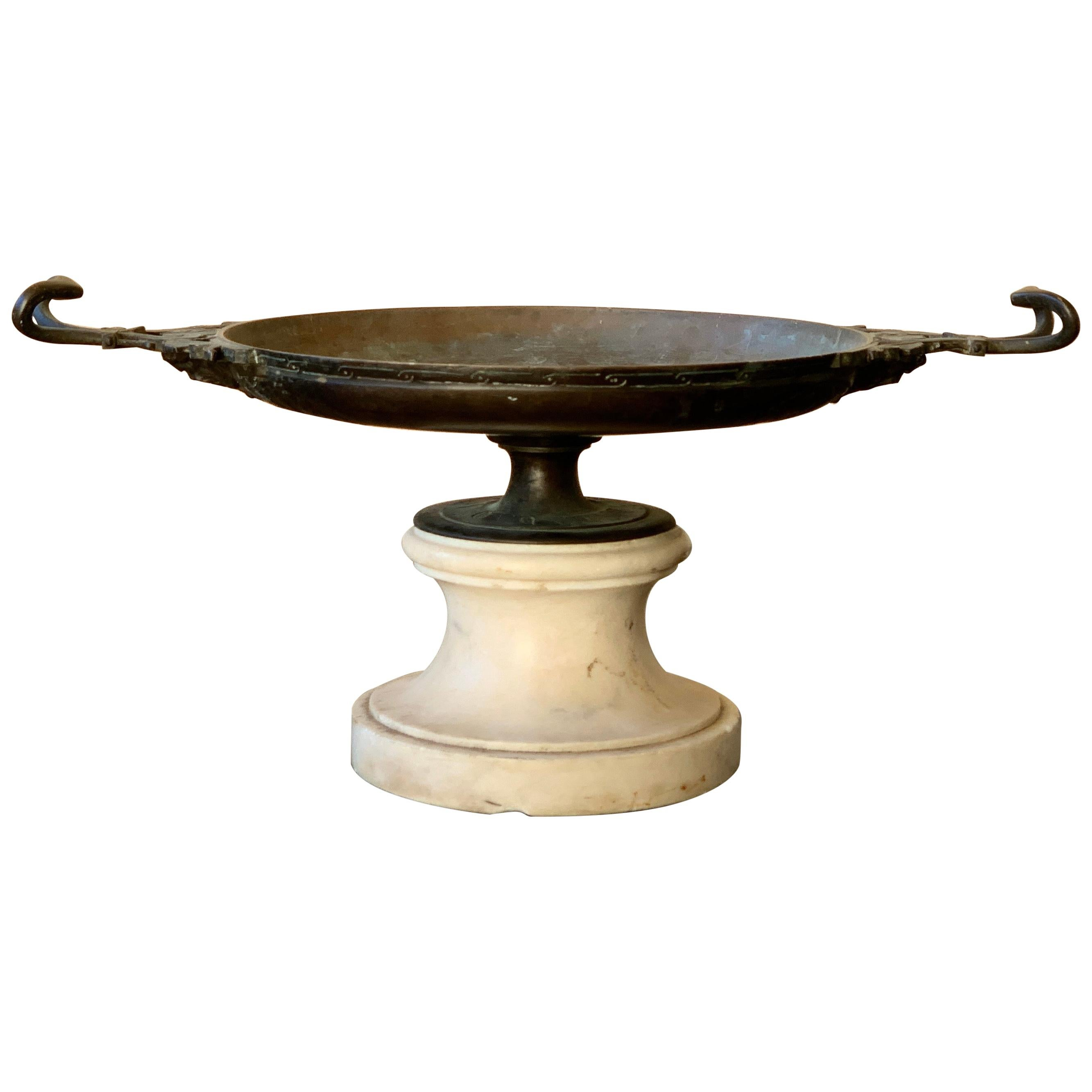 Neoclassical Greek Bronze Kylix Centerpiece on a Marble Base, 19th Century